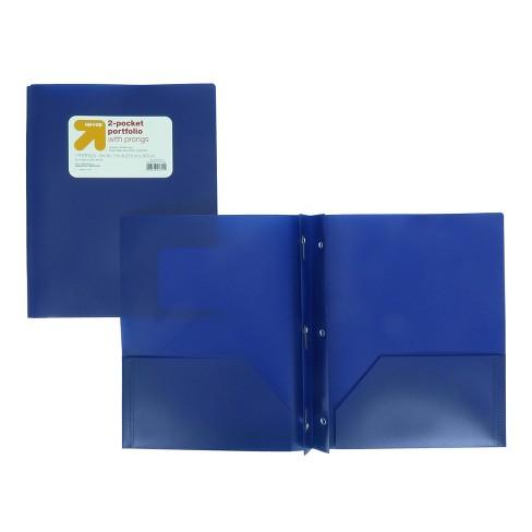plastic folder with prongs 2 pocket blue up up target
