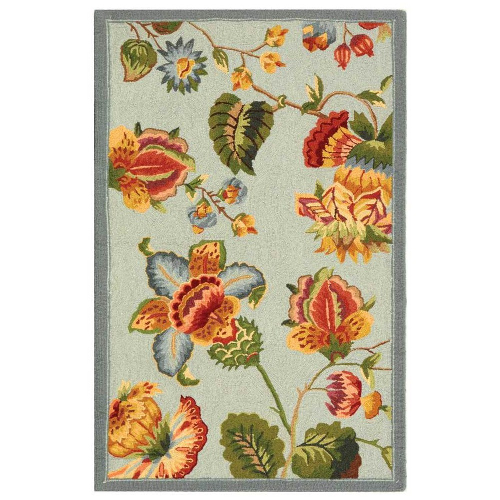 Hooked Floral Accent Rug Light Blue