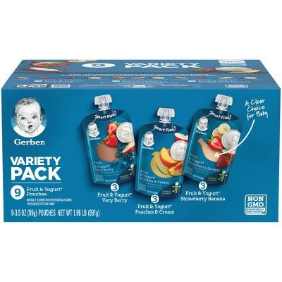 Gerber Fruit & Yogurt Pouch Variety Baby Snacks - 1.96oz/9pk Each
