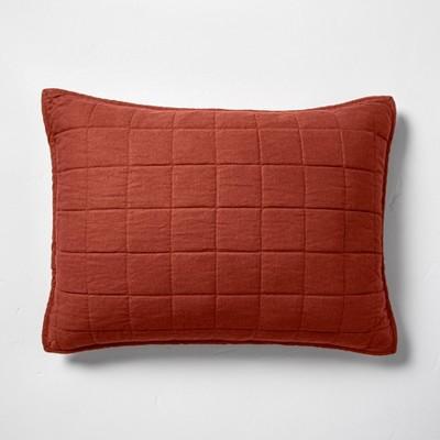 Standard Heavyweight Linen Blend Quilted Pillow Sham Dark Clay - Casaluna™