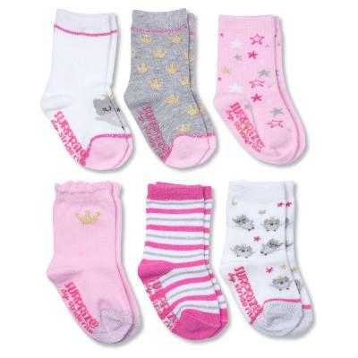 Baby Girls' Pink Princess Crew Gripper Socks - Pink 6-12 M - Surprize by Stride Rite™