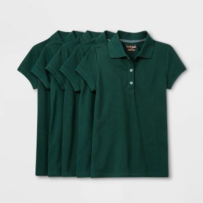 Girls' 5pk Short Sleeve Stretch Pique Uniform Polo Shirt - Cat & Jack™ Green