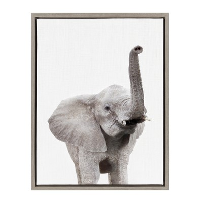 "18"" x 24"" Sylvie Young Elephant Framed Canvas by Amy Peterson Gray - Kate and Laurel"