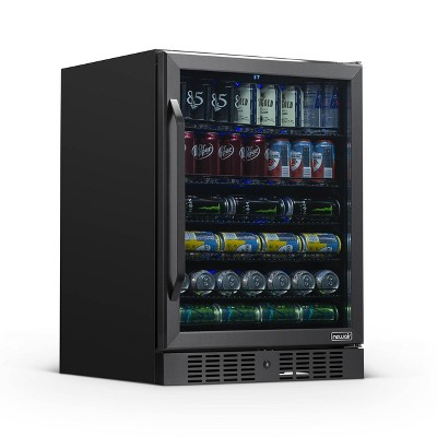 """NewAir 24"""" Built-in 177 Can Beverage Fridge in Black Stainless Steel with Precision Temperature Controls and Adjustable Shelves"""