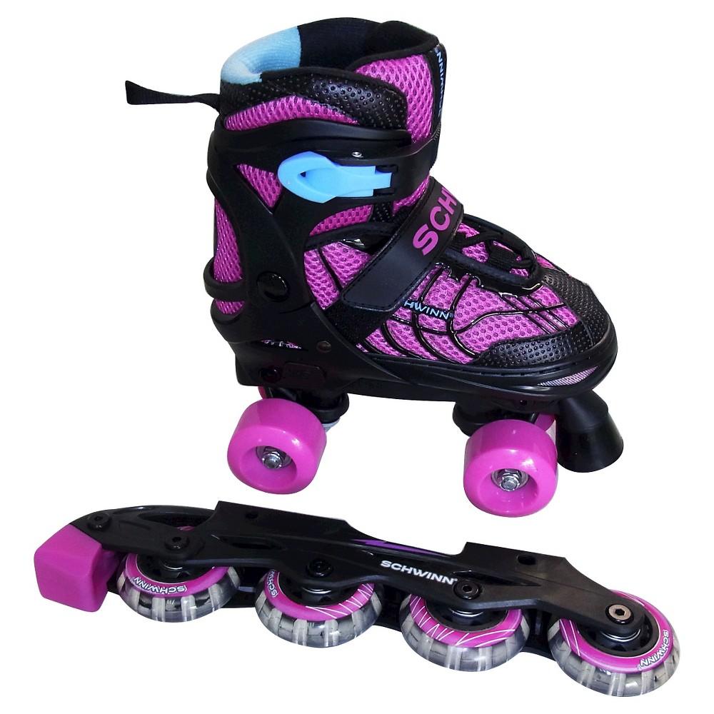 Schwinn Girls' Adjustable 2-in-1 Quad/Inline Skate - Black/Pink 1-4, Kids Unisex, Pink Blue Black