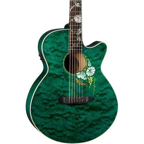 Luna Guitars Flora Moonflower Acoustic-Electric Guitar Transparent Mallard - image 1 of 4