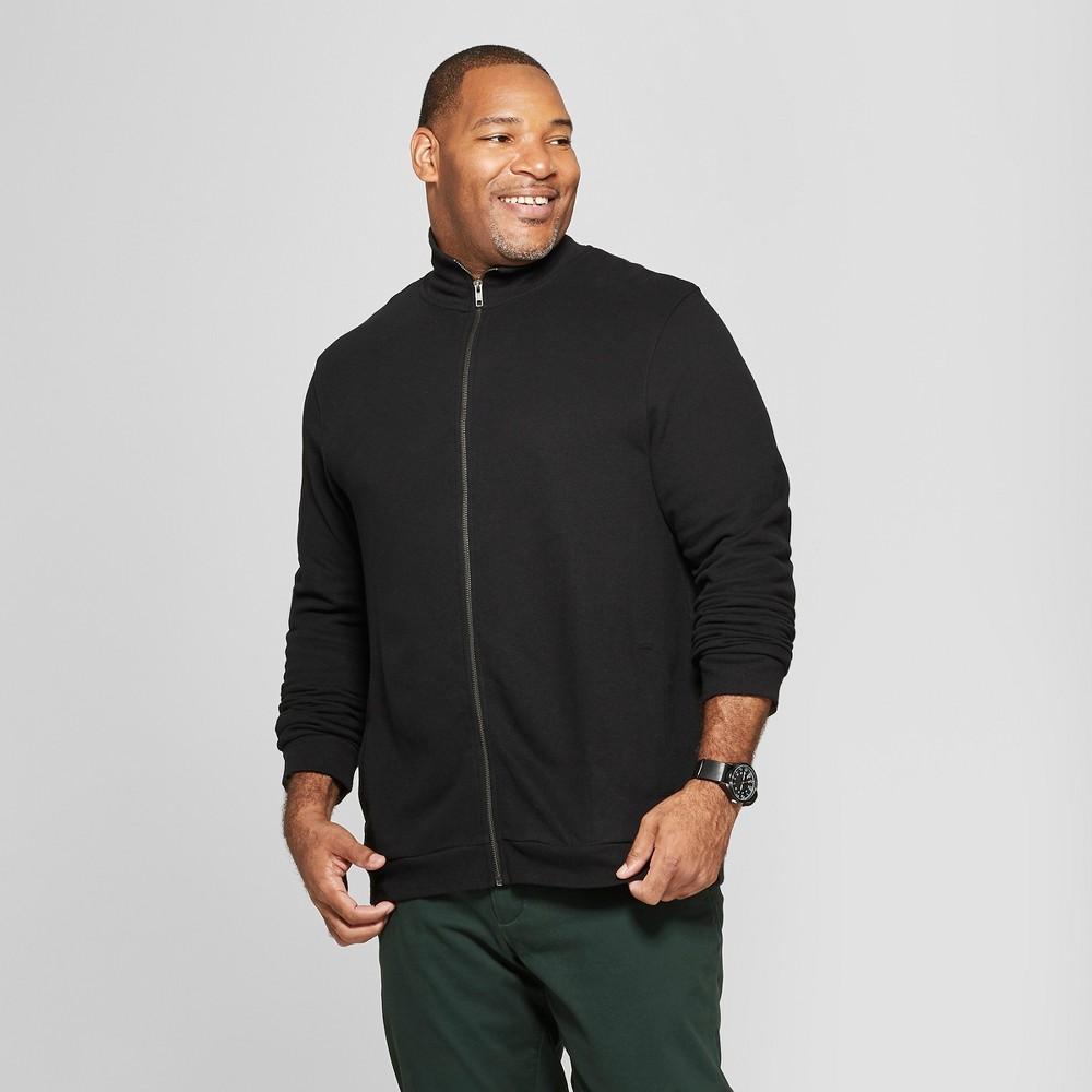 Men's Big & Tall Regular Fit Long Sleeve Mock Collar Fleece Zip-Up Sweatshirt - Goodfellow & Co Black 5XB
