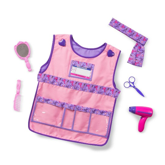 Melissa & Doug Hair Stylist Role Play Costume Dress-Up Set (7pc), Adult Unisex, Gold image number null