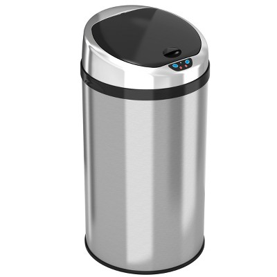 iTouchless Sensor Kitchen Trash Can with AbsorbX Odor Filter 8 Gallon Silver Stainless Steel
