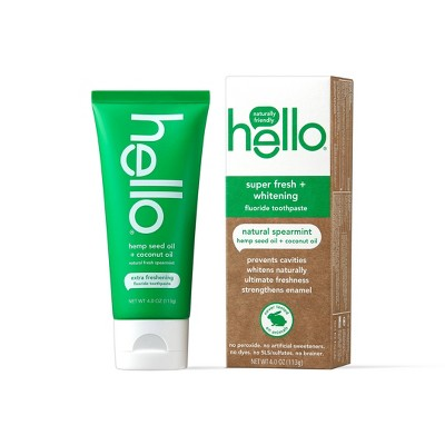 hello Extra Freshening Natural Spearmint Hemp Seed Oil + Coconut Oil Fluoride Toothpaste - 4oz
