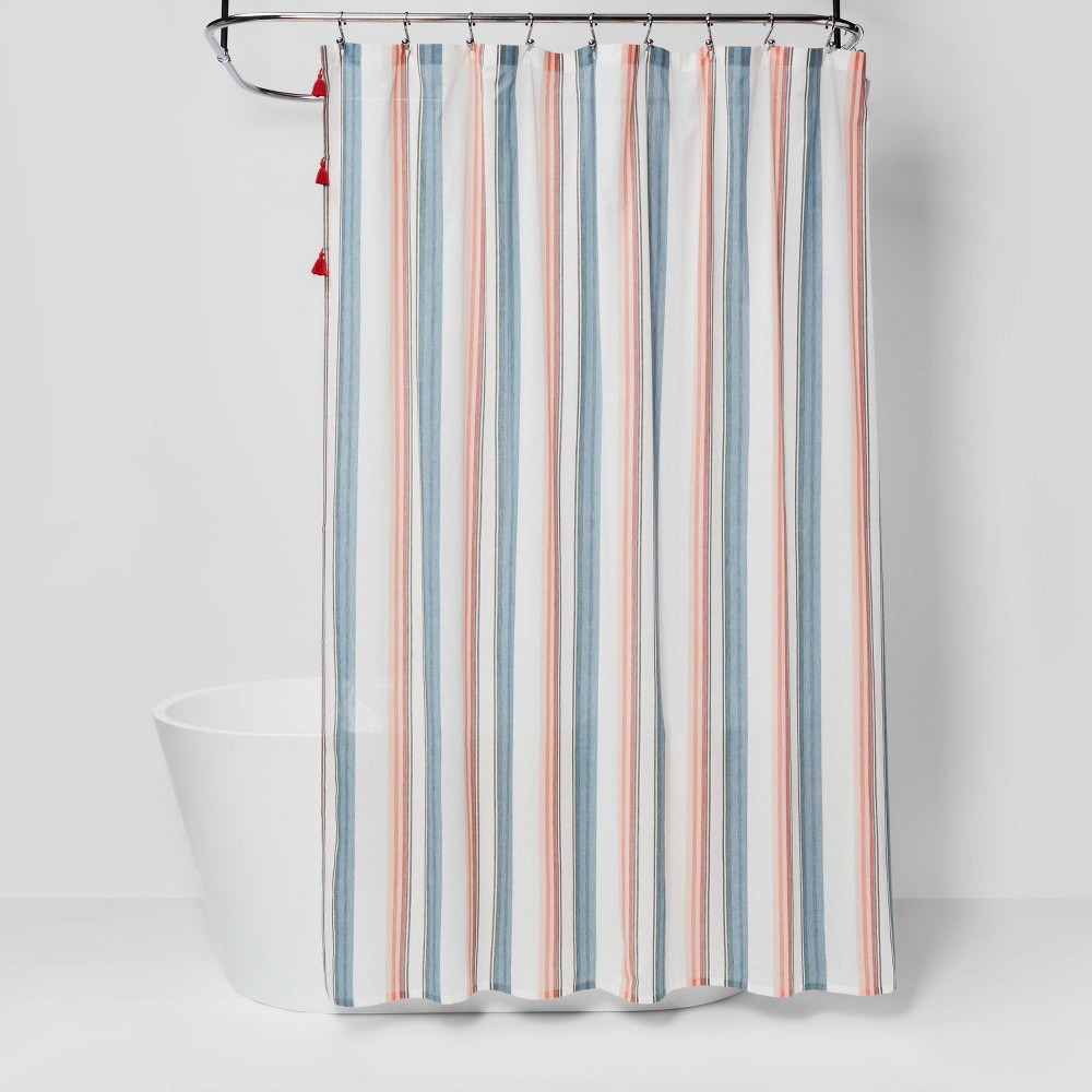 Bring a touch of elegance to your bathroom with the Stripe Shower Curtain from Opalhouse™. Made from 100percent cotton for durability, this printed shower curtain features woven stripes in orange, blue, gray and more for a playful look you\'re sure to love. The buttonhole top provides easy hanging, helping you update your bathroom decor with ease, and the red tassels along the top add pop of eye-catching detail. This is your house. Where you create spaces as bold as your spirit. Collect objects as inspired as your dreams. Find pieces that remind you of every place you've been. Discover stories to inspire everywhere you have yet to go. This is Opalhouse. Color: Pink. Gender: unisex.