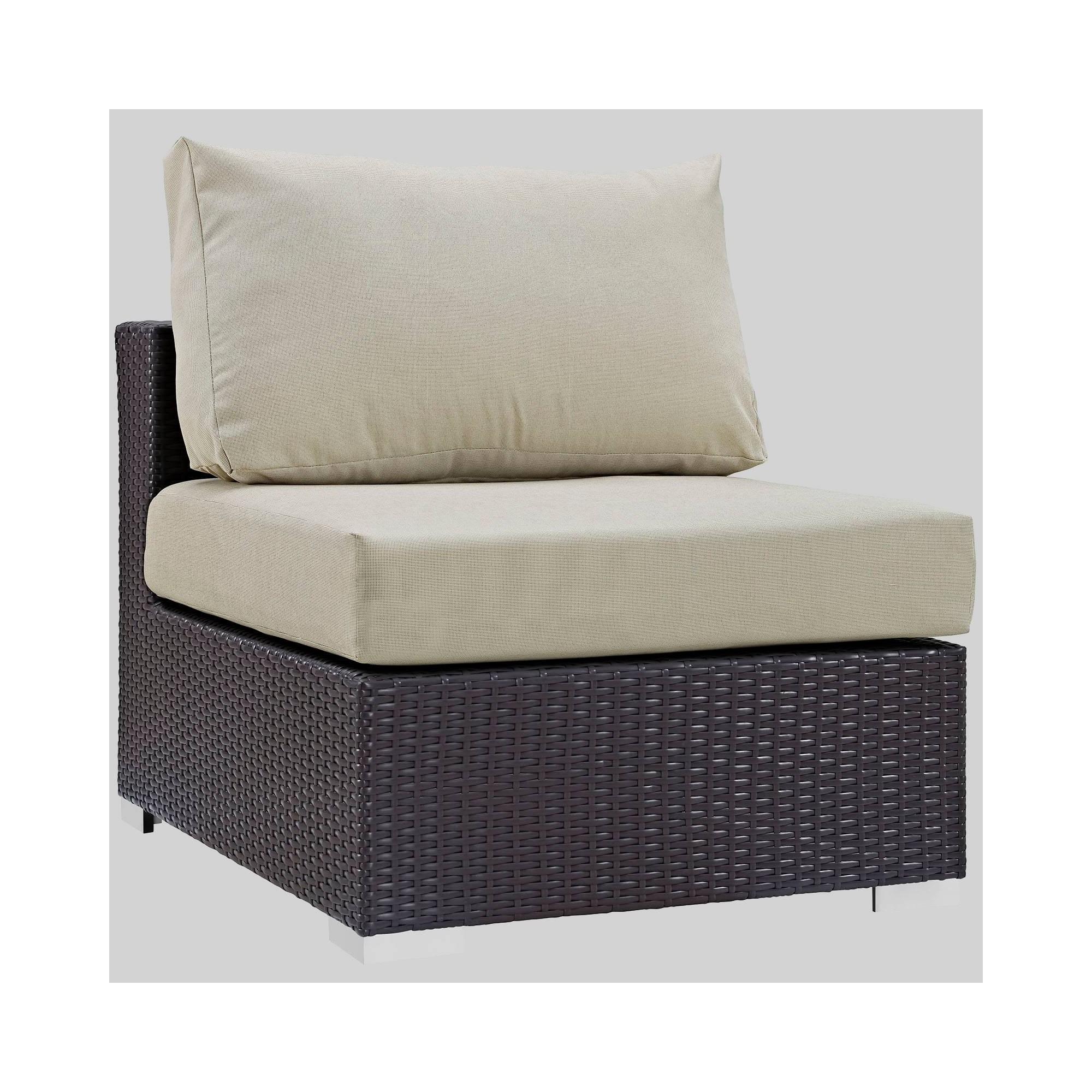 Convene Outdoor Patio Armless Chair - Beige - Modway