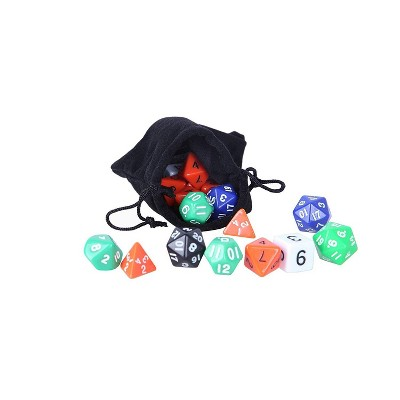 Juvale Polyhedral Dice Set Assorted Colors 4 Sided 6 Sided 8 Sided 10 Sided 12 Sided and 20 Sided Included with Jar and Velvet Bag 120 Count