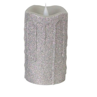 "Melrose 5.25"" Glittered Flameless LED Lighted Christmas Pillar Candle - Silver"