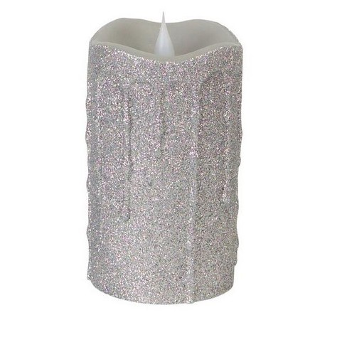 """Melrose 5.25"""" Glittered Flameless LED Lighted Christmas Pillar Candle - Silver - image 1 of 2"""