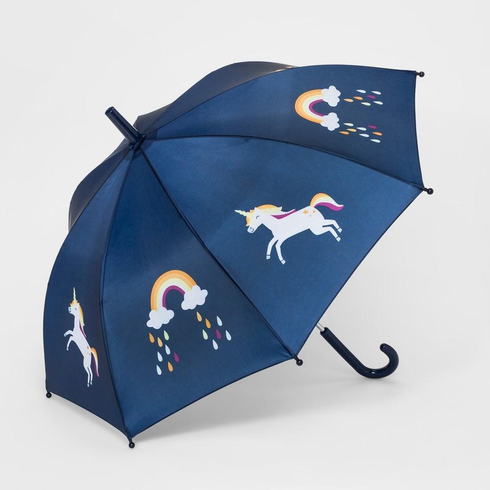 Image of Girls' Rainbow Unicorn Stick Umbrella - Cat & Jack Navy (Blue)