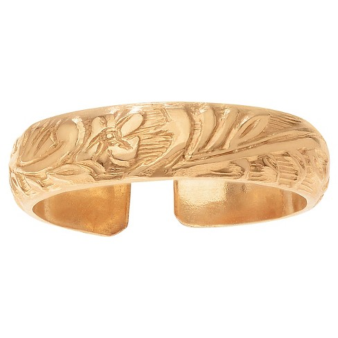 Women's Journee Collection 14k Goldfill Flower Etched Toe Ring - Gold - image 1 of 2
