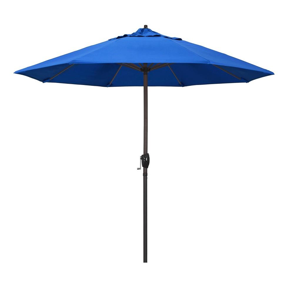 Image of 9' Aluminum Auto Tilt Crank Lift Patio Umbrella - Royal Blue
