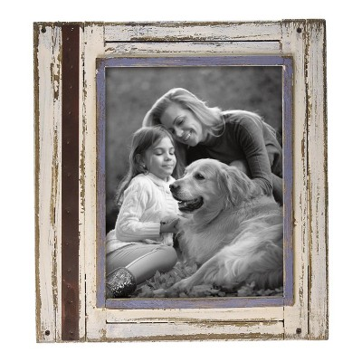 White and Brown Decorative Distressed Wood Picture Frame - Foreside Home & Garden