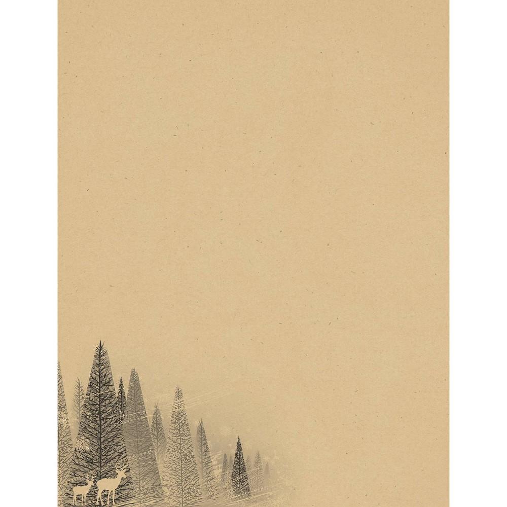 Image of 40ct Winter Forest Kraft Letterhead, Beige