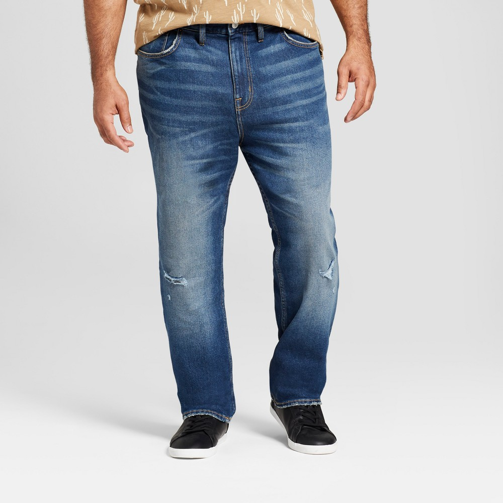 Men's Big & Tall Slim Straight Fit Jeans with Coolmax - Goodfellow & Co Light Wash 44x32, Blue