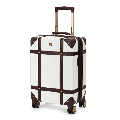 "SWISSGEAR 19"" Hardside Trunk Expandable Carry On Suitcase - Off White"
