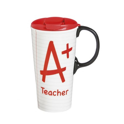 Cypress Home A+ Teacher Ceramic Travel Coffee Mug, 17 ounces
