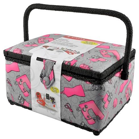 f313540928 Singer Sewing Basket Kit - Gray   Pink   Target