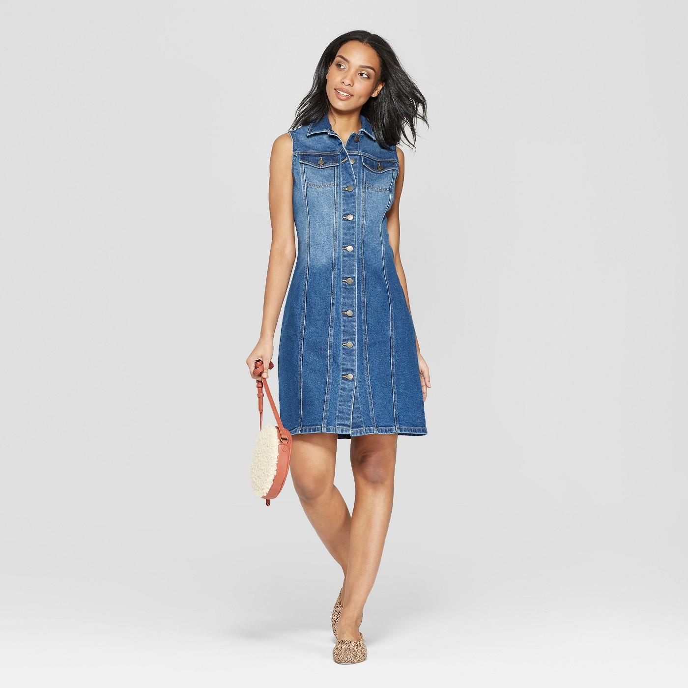 Women's Sleeveless Button Front Denim Dress - Universal Thread™ - image 1 of 3