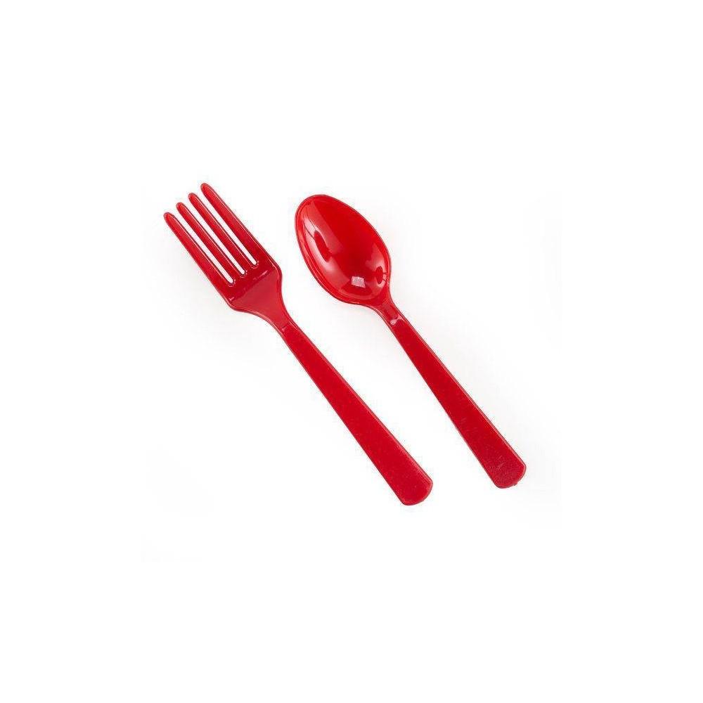 16ct Orange Disposable Fork & Spoon Set Best