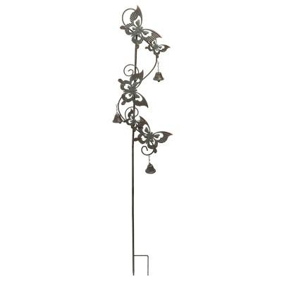 Transpac Metal 45 in. Brown Easter Patina Butterfly Bell Yard Stake