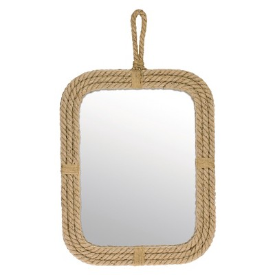 Rectangle Decorative Wall Mirror With Rope Light Brown   CKK Home Decor