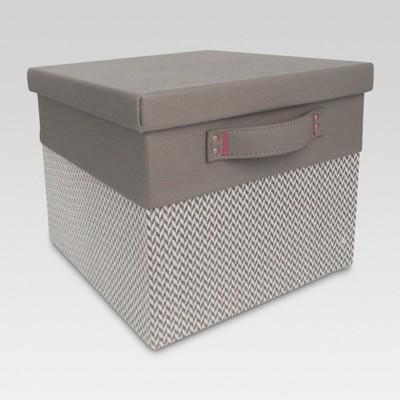 Lidded Small Milk Crate - Gray Chevron - Threshold™