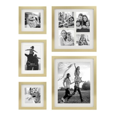5pc Decorative Stamped Photo Frame Set Gold - Stonebriar Collection