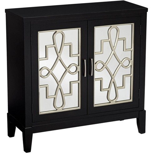 Coast To Coast Mansfield 36 Black And Mirrored 2 Door Accent Media Cabinet Target