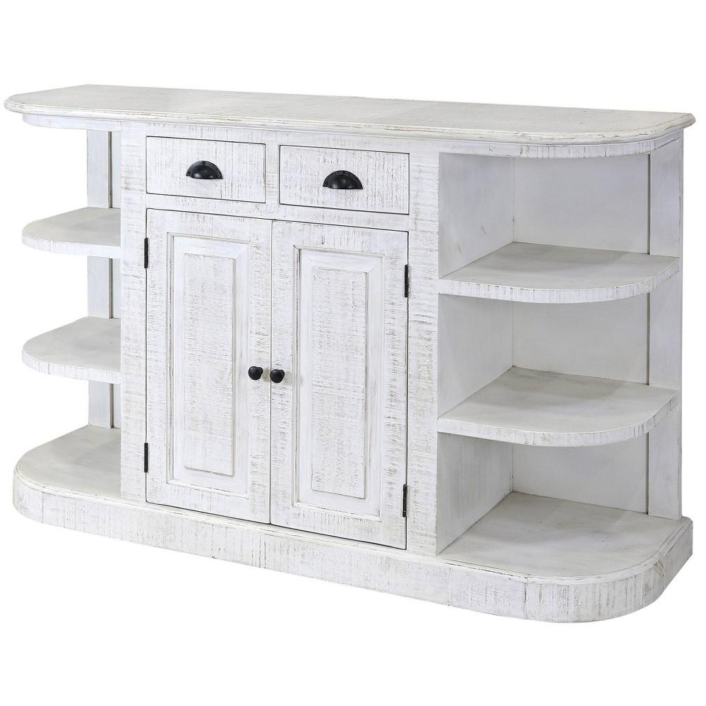Ayden 2 Drawer Display Cabinet White Wash Black Stylecraft
