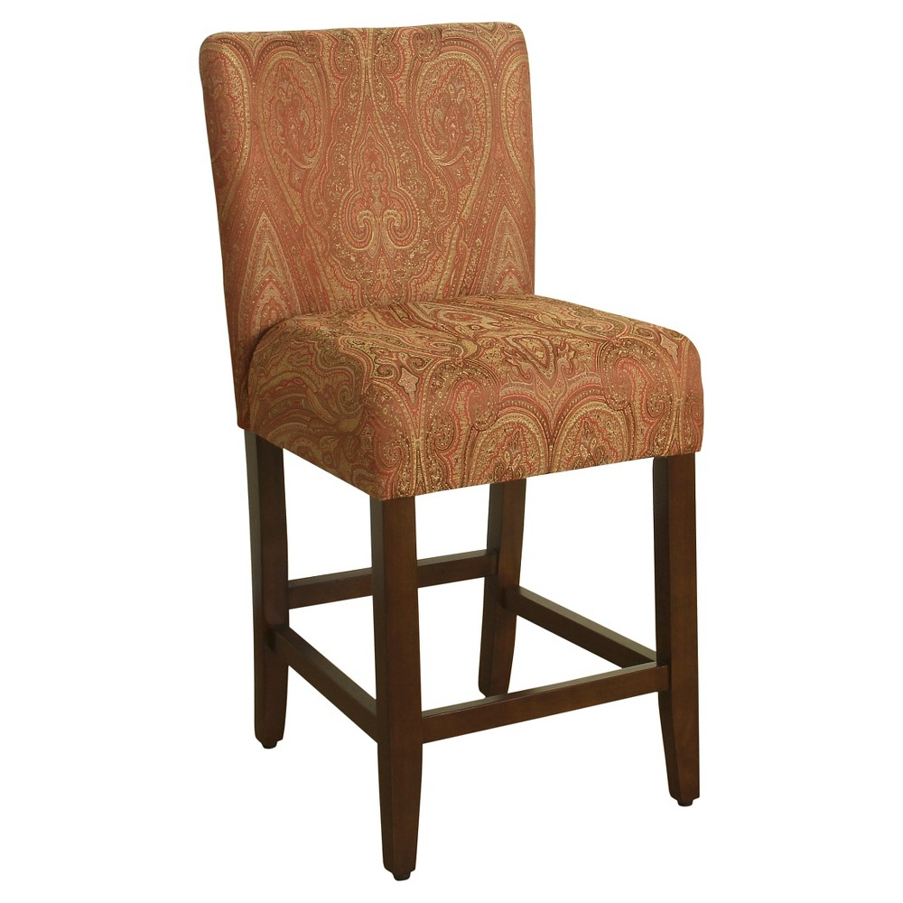 "Image of ""24"""" Damask Upholstered Counter stool - Red & Gold - HomePop"""