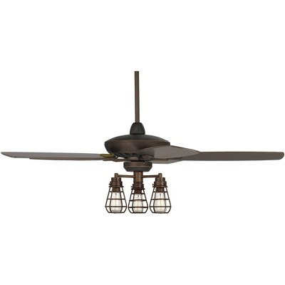 "52"" Casa Vieja Industrial Ceiling Fan with Light Kit LED Dimmable Remote Oil Rubbed Bronze 3-Light Cage for Living Room Kitchen"