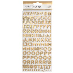 249pc Foam Stickers Alpha & Number Gold - American Crafts