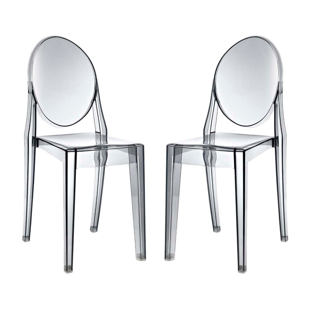 Casper Dining Chairs Set of 2 Smoke (Grey) - Modway