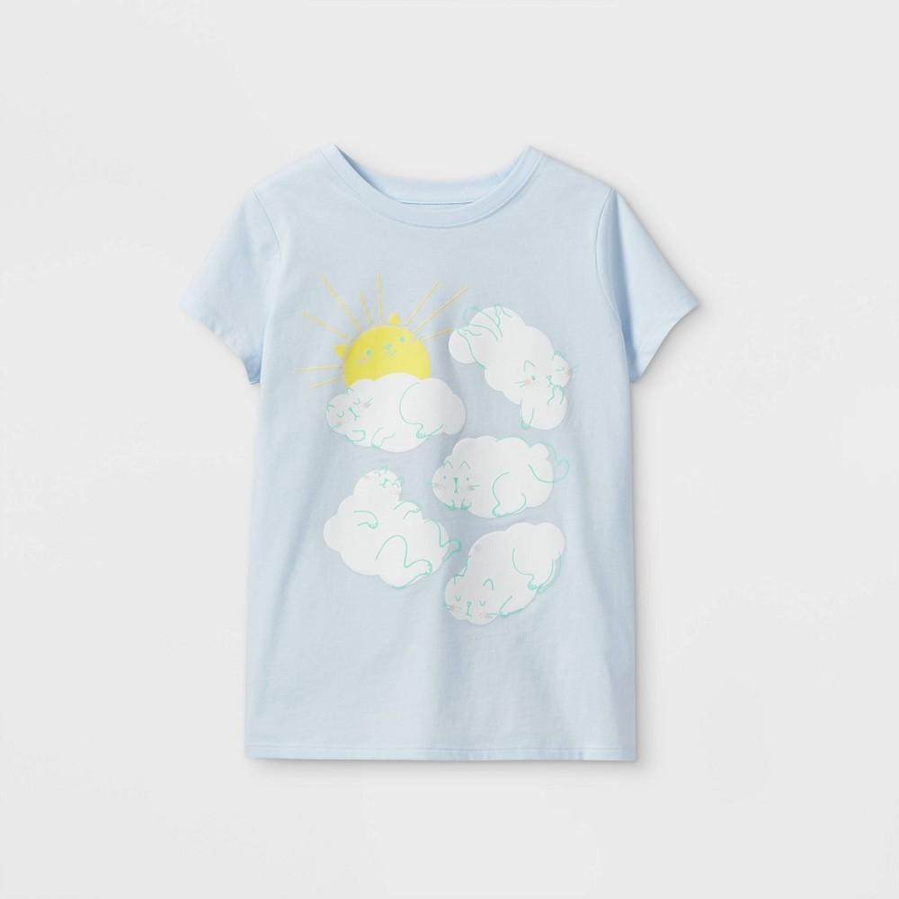 Girls 39 Cat Clouds Graphic Short Sleeve T Shirt Cat 38 Jack 8482 Light Blue Xs