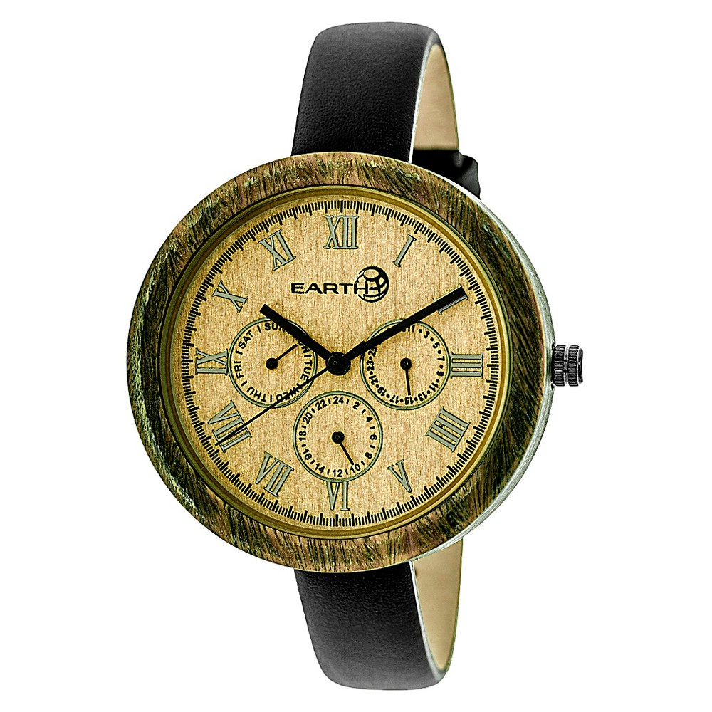 Earth Wood Women's Brush Multi - Function Leather Strap Watch - Black/Olive