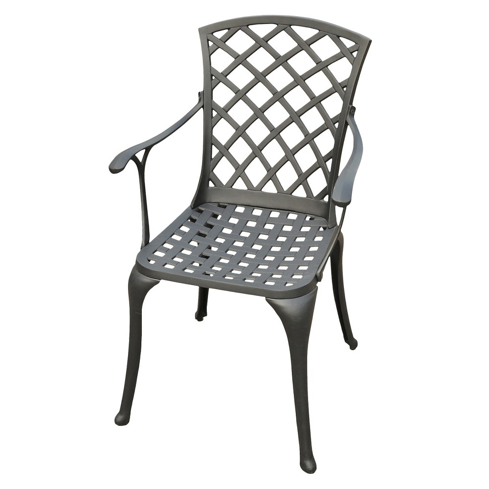 Crosley Sedona Cast Aluminum High Back Arm Chair in Charcoal Black Finish (Set of 2)