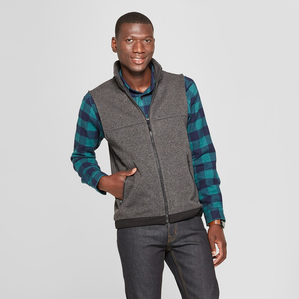 Men's Standard Fit Sweater Fleece Vest - Goodfellow & Co Charcoal (Grey) 2XL