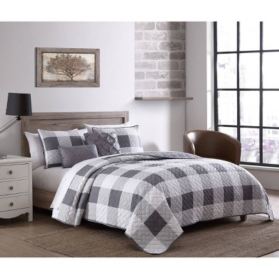 Buffalo Plaid 5pc Quilt Set - Geneva Home Fashion