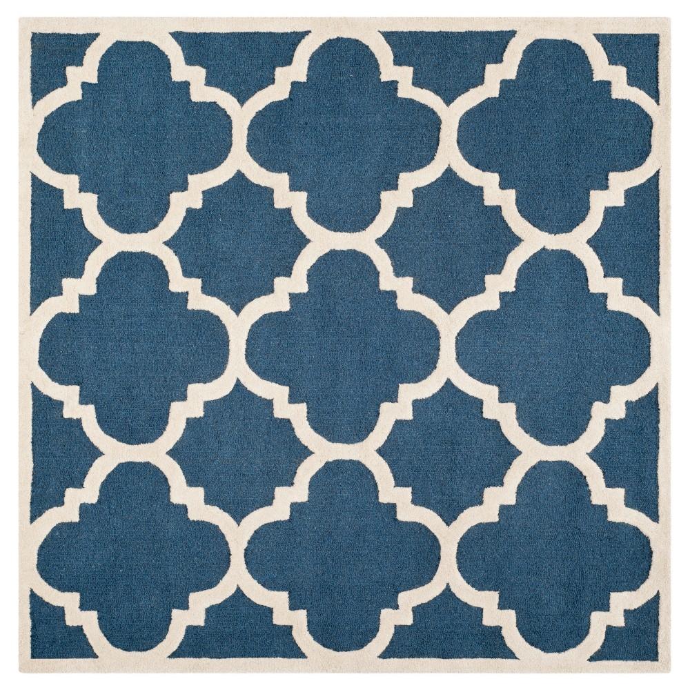 Landon Texture Wool Rug - Navy / Ivory (6' X 6') - Safavieh, Blue/Ivory