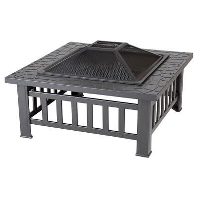 Fire Sense Stonemont Square Wood Burning Fire Pit - Black