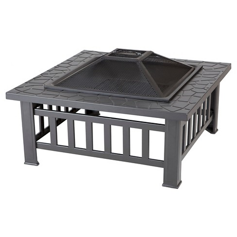Fire Sense Stonemont Square Wood Burning Fire Pit - Black - image 1 of 7