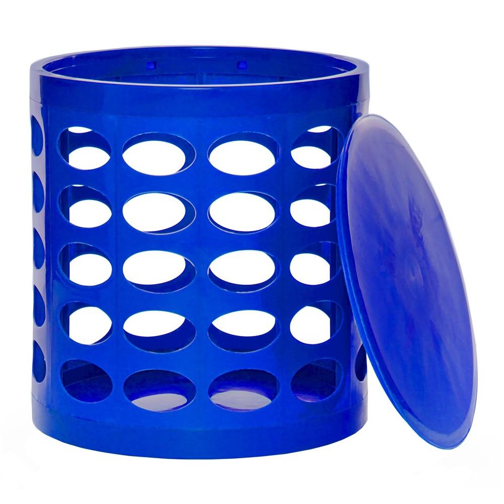 Image of GitaDini Storage Ottoman - Perforated Blue