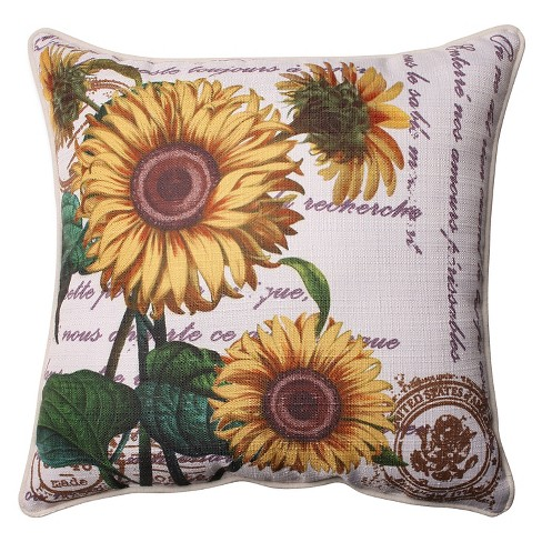 "Pillow Perfect Sunflowers Corded Throw Pillow - Off-White (16.5"") - image 1 of 1"
